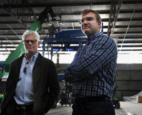 BROOMFIELD, CO - ARRIL 06: Investor John McDonald and Momentum Recycling president and CEO John Lair at the Broomfield site where they are building the state's first glass recycling facility April 06, 2016 in Broomfield, CO. (Photo By Joe Amon/The Denver Post)